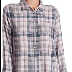 MELROSE AND MARKET Side Button Plaid Top Size S